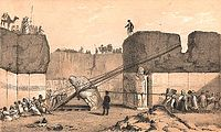 English archaeologist Austen Henry Layard in the ancient Assyrian city of Nineveh, 1852.