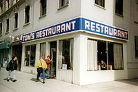 Tom's Restaurant, a diner at 112th St. and Broadway in Manhattan, that was used as the exterior image of Monk's Café in the show