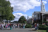 The BigE is New England's collective state fair. On the Avenue of the States, each of the six New England States owns its own plot of land and replica State House.