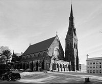 Unity Church (built 1866–1869), the first commission of noted architect H. H. Richardson, was demolished in 1961.