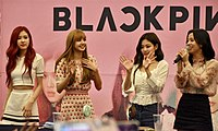 Blackpink attending a fansign event for Square Up held at the AK Plaza in Bundang, June 24, 2018
