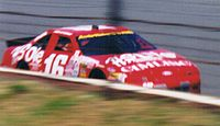 Tim Steele at the Pocono ARCA race in June 1996. Steele, a 3-time ARCA Champion, would win 9 ARCA races at Pocono, the most by a driver in a single series at the track.