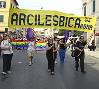 Italian lesbian organisation Arcilesbica at the National Italian Gay Pride march in Grosseto, Italy, in 2004