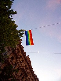 LGBT flag hoisted in the Casa Rosada, building of the Argentine government, in Buenos Aires