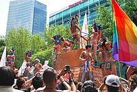 Float with Aztec Eagle Warrior theme at 2009 LGBT Pride Parade in Mexico City