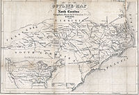 Map of the roads and railroads of North Carolina, 1854