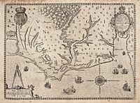 Map of the coast of Virginia and North Carolina, drawn 1585–1586 by Theodor de Bry, based on map by John White of the Roanoke Colony