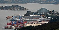 Two cruise ships—Celebrity Solstice and Azamara Journey—in Port Chalmers on 15 March