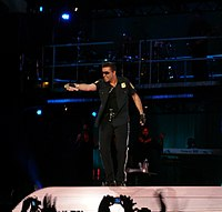 "Michael performing ""Outside"" at the Olympic Stadium, Athens in 2007"