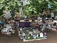 Unofficial memorial garden outside Michael's home in Highgate, 29 July 2017