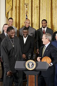 The Pistons are honored at the White House for the team's victory in the 2004 NBA Finals.