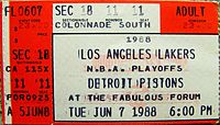 A ticket for Game 1 of the 1988 NBA Finals at The Forum.
