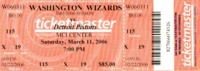 A game ticket from March 2006 between the Detroit Pistons and the Washington Wizards.