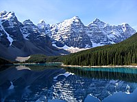 The Rocky Mountains in Canada overlook Moraine Lake.