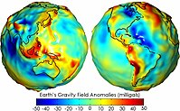 Earth's gravity measured by NASA's GRACE mission, showing deviations from the theoretical gravity. Red shows where gravity is stronger than the smooth, standard value, and blue shows where it is weaker.