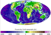 Present-day Earth altimetry and bathymetry. Data from the National Geophysical Data Center.