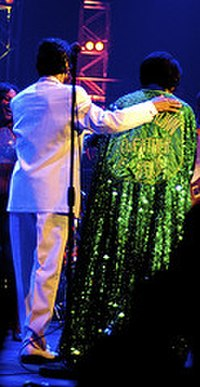 Brown and MC Danny Ray during cape routine, BBC Electric Proms '06 concert