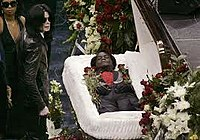 Public funeral in Augusta, Georgia, with Michael Jackson attending