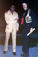 Brown with a disc jockey after a concert in Tampa in 1972