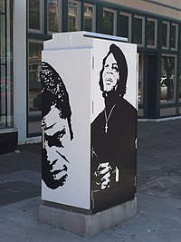 Traffic box public art commissioned to be painted by Ms. Robbie Pitts Bellamy in tribute to Brown in 2015