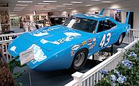 Petty's famous Plymouth Superbird, on display at The Richard Petty Museum in Randleman, North Carolina