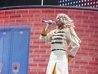 """Swift performing """"You Belong with Me"""" during the Fearless Tour in 2010."""