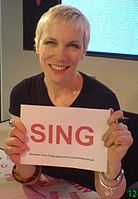 """After releasing """"Sing"""" with 23 other invited singers, Lennox launched the SING campaign in 2007"""