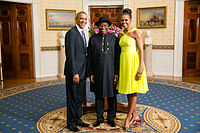 Former Nigerian President Goodluck Jonathan (center) with United States President Barack Obama and First Lady Michelle Obama in August 2014