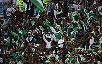 Nigerian football supporters at the 2018 FIFA World Cup in Russia