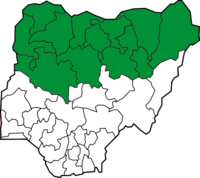 Nigerian states that implement some form of sharia law (in green)