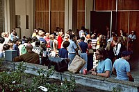 Convention crowd outside of Golden Hall in 1982