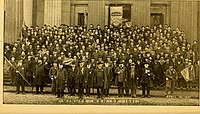 Veterans of the 'Minutemen of 1861', those among the first to answer President Abraham Lincoln's call to arms on April 15, 1861, in a group photograph on the 36th anniversary on April 15, 1897