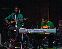 Williams playing the bass at SXSW 2008