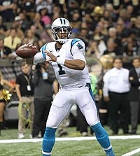 Newton playing against the New Orleans Saints in 2015.