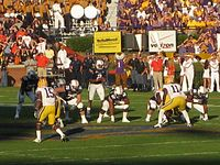 Newton receiving a snap in 2010 against the LSU Tigers
