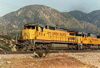 Union Pacific #9214, a GE Dash 8-40C, shows the standard UP diesel locomotive livery on May 10, 1991.
