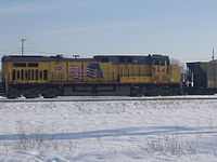 UP Locomotive GE AC4400CW 5645 in Battle Creek, Michigan, with the Flags and Flares paint scheme