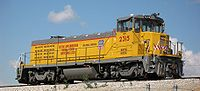 """One of the 20 new 2000 hp """"Green Goat"""" locomotives manufactured for Union Pacific's """"Green"""" Fleet by Railpower Technologies"""