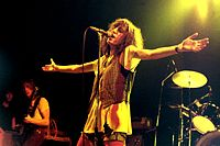 Smith performing with the Patti Smith Group, in West Germany, 1978