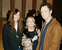 Smith with National Book Critics Circle President Jane Ciabattari and NBCC board member John Reed. Smith's memoir Just Kids was an NBCC autobiography finalist at the 2010 awards.