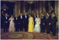 Elizabeth (centre) in 1977, with national leaders Pierre Trudeau, (Prince Charles far background), Princess Margaret, Takeo Fukuda, James Callaghan, Valéry Giscard d'Estaing, Prince Philip, Queen Elizabeth The Queen Mother, Jimmy Carter, Giulio Andreotti, and Helmut Schmidt
