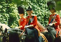 Elizabeth riding Burmese at the 1986 Trooping the Colour ceremony