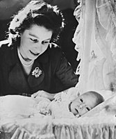 Princess Elizabeth with her son Prince Charles, 1948
