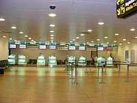 Alitalia's check-in area in Florence Airport.
