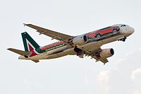 An Alitalia A320-200 (registration: EI-DSW) in Jeep Renegade special livery.