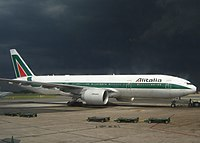 Alitalia Boeing 777-200ER at Ezeiza Airport, Argentina, during a severe thunderstorm. (2006)