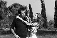 Fonda and her first husband Roger Vadim in Rome, in 1967 before the filming of Barbarella (1968).
