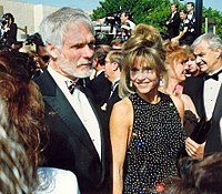 Fonda and her third husband Ted Turner on the red carpet at the 1992 Emmy Awards