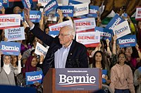 Sanders campaigning for president in San Jose, California, March 2020