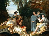 """Female youths are depicted surrounding Sappho in this painting of Lafond """"Sappho sings for Homer"""", 1824."""